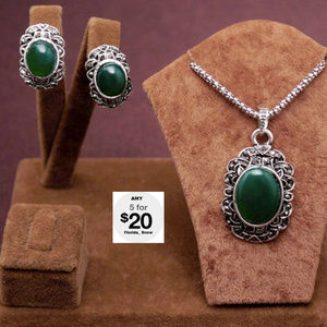 Jewelry - Green Moon Stone Necklace & Matching Earrings